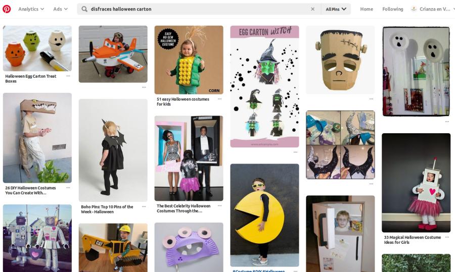 foto de pinterest donde se ven disfraces de halloween hechos con carton , disfraces de residuo cero