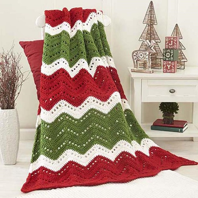 Holiday Ripple Afghan Crochet