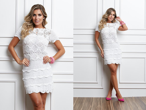 Summer white crochet dress pattern