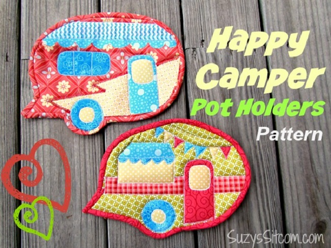 Patchwork Camper Quilted Pot Holders by SUSAN MYERS