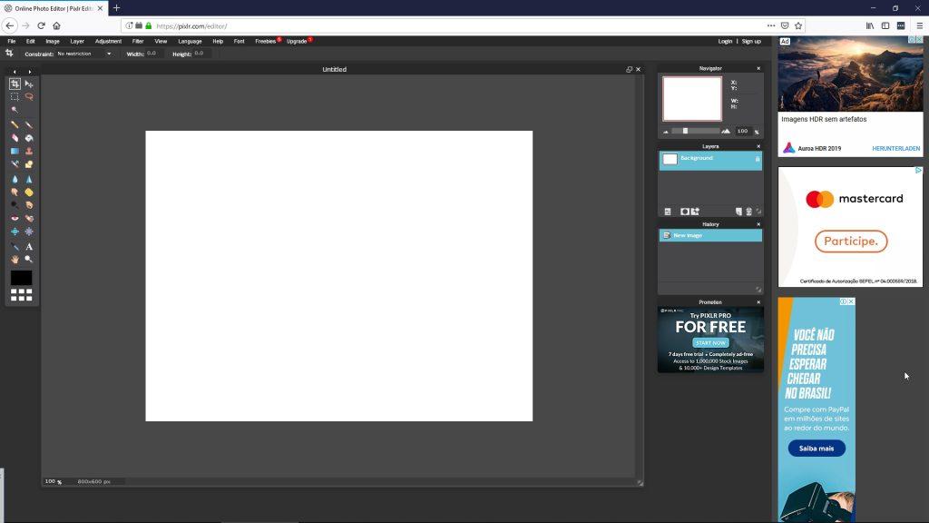 Imagem do aplicativo aberto no navegador Mozila Firefox.