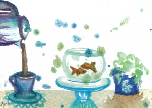 """cricketdiane - collectible art cards - original watercolor by Cricket Diane C Phillips - 2007 - """"Having A Little Coffee With My Goldfish"""" - folksy -"""