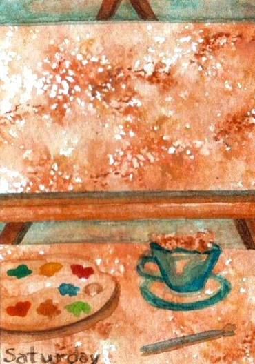 """cricketdiane - original watercolor 2.5"""" x 3.5"""" coffee themed art trading cards by Cricket Diane C Phillips - 2007 - days of the week - Saturday"""
