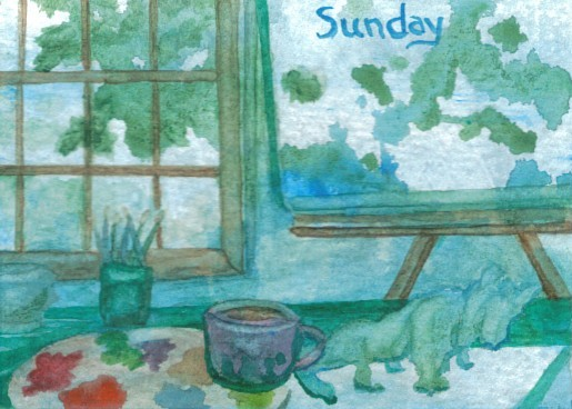 cricketdiane - coffee themed days of the week art trading cards - 2007 - Sunday -