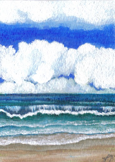 "CricketDiane 09 - Sonata by Cricket dcphillips 06 - watercolor on Arches wc paper 2009, 2006 - 2.5"" x 3.5"" ocean waves painting Baby Crickets pocket art"