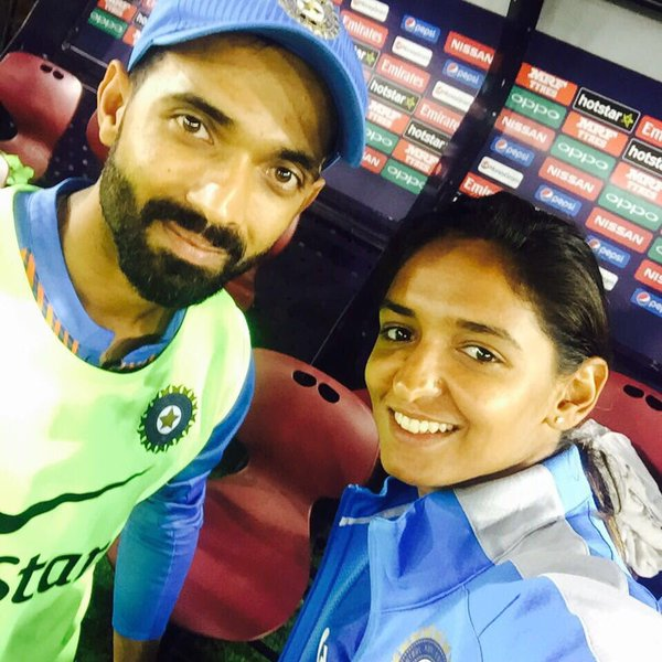 Harmanpreet Kaur with Ajinkya Rahane