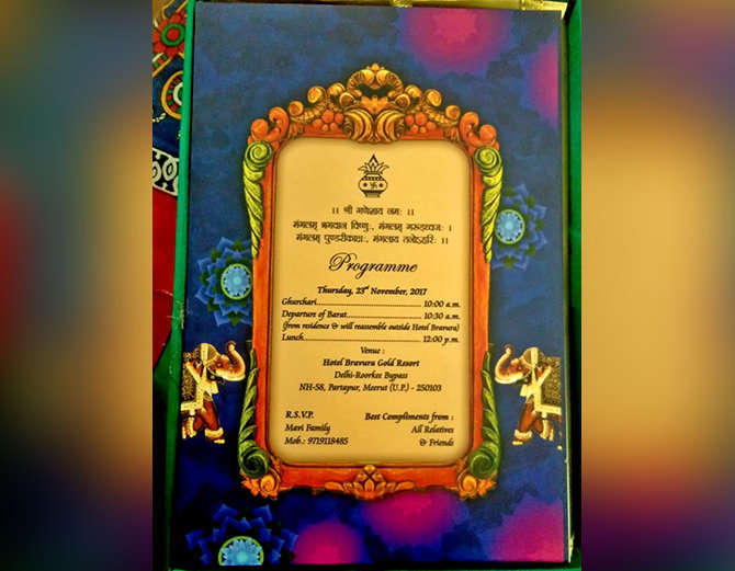 Bhuvneshwar Kumar wedding card 2