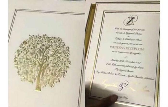 Zaheer wedding card
