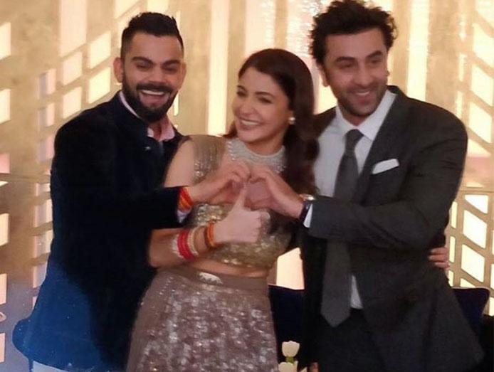 Ranbir Kapoor, Virat Kohli, Anushka Sharma