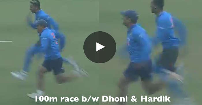 MS Dhoni, Hardik Pandya 100 metre race