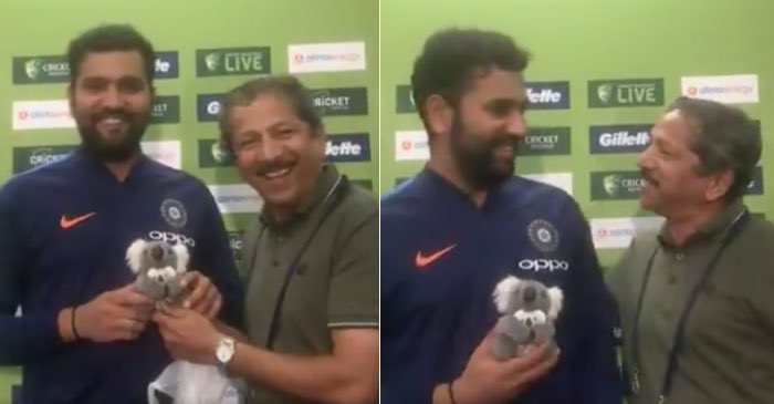 Indian journalist gifts a toy to newly-turned dad Rohit