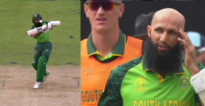 Hashim Amla hit on the helmet