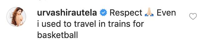 Urvashi Rautela instagram comment
