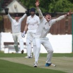 gary Fellows is trapped LBW