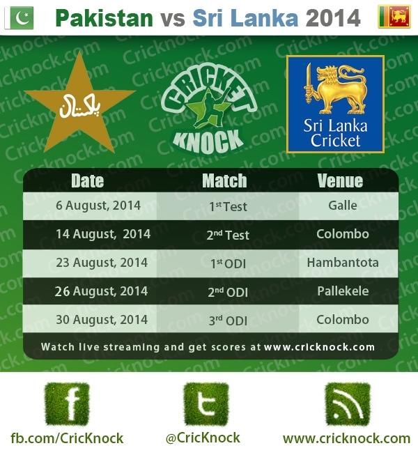 Pakistan vs Sri Lanka August 2014 Cricket Fixtures