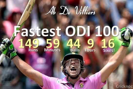 AB de Villiers Fastest ODI Century Record