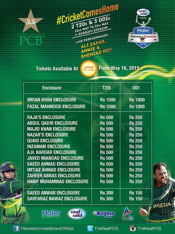 Pakistan vs Zimbabwe ticket prices