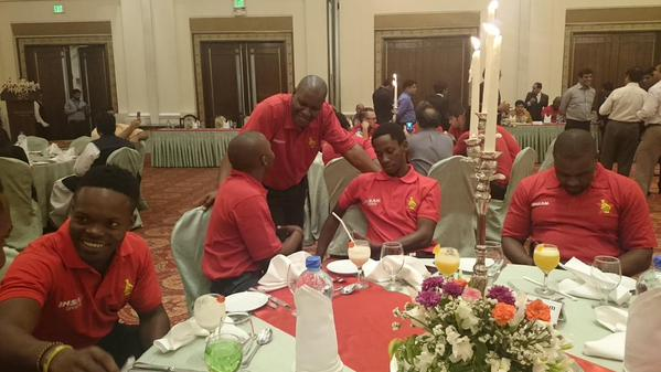 Zimbabwe Cricket Team having dinner at a hotel in Lahore.
