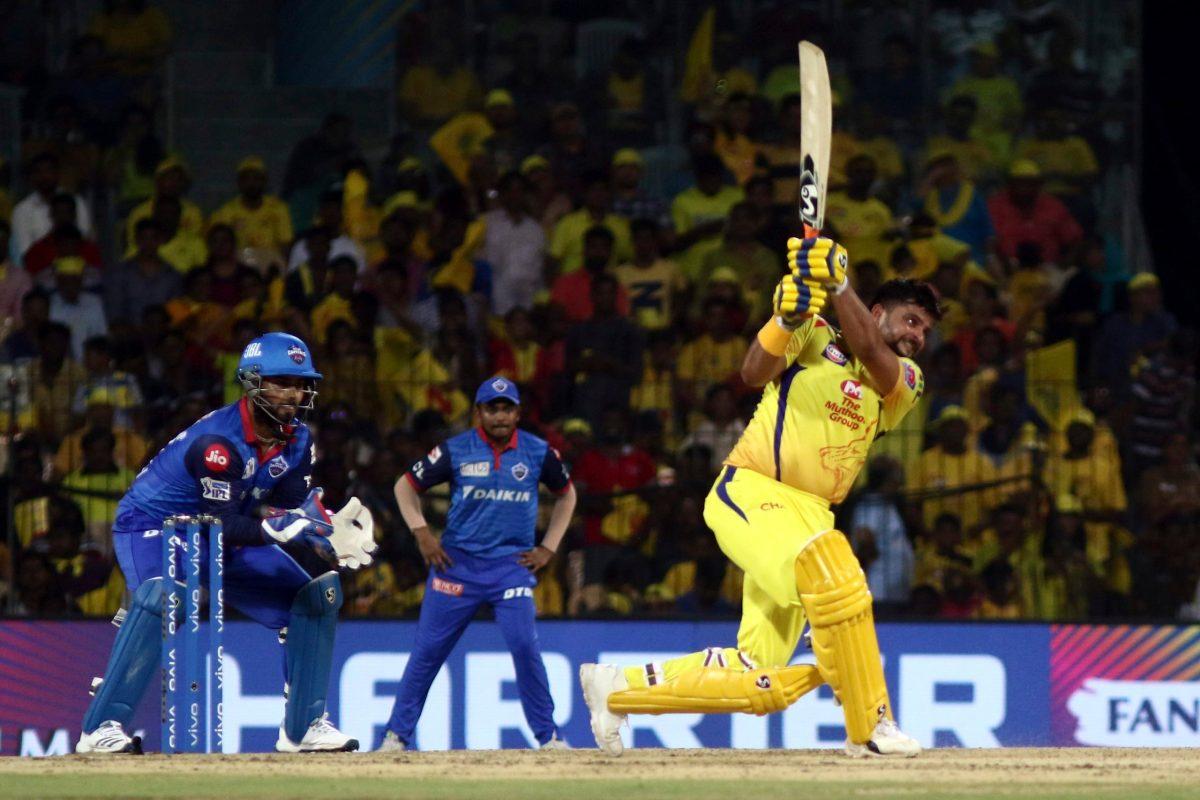 Chennai Super Kings Suresh Raina plays a shot