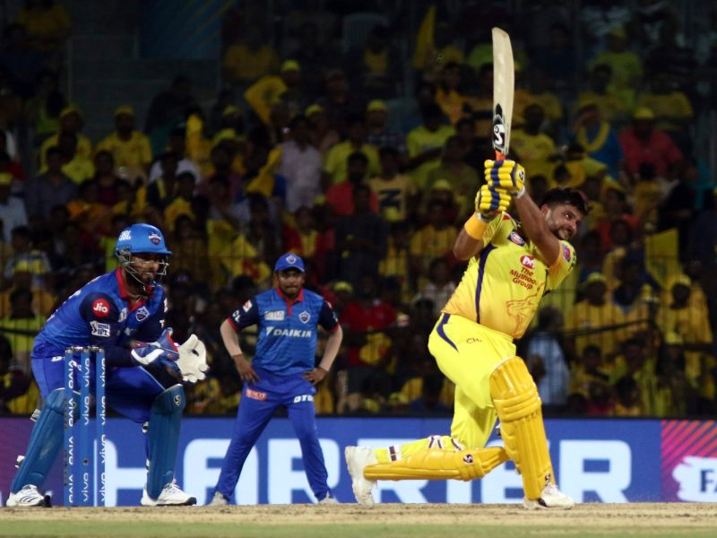 Chennai Super Kings Suresh Raina plays a shot