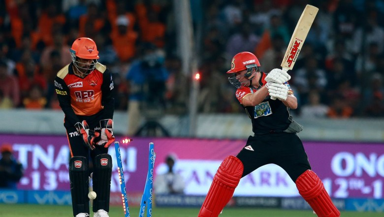 Royal Challengers Bangalore player AB de Villiers reacts after bowled by Rashid Khan, unseen, during VIVO IPL cricket T20 match against Sunrisers Hyderabad in Hyderabad
