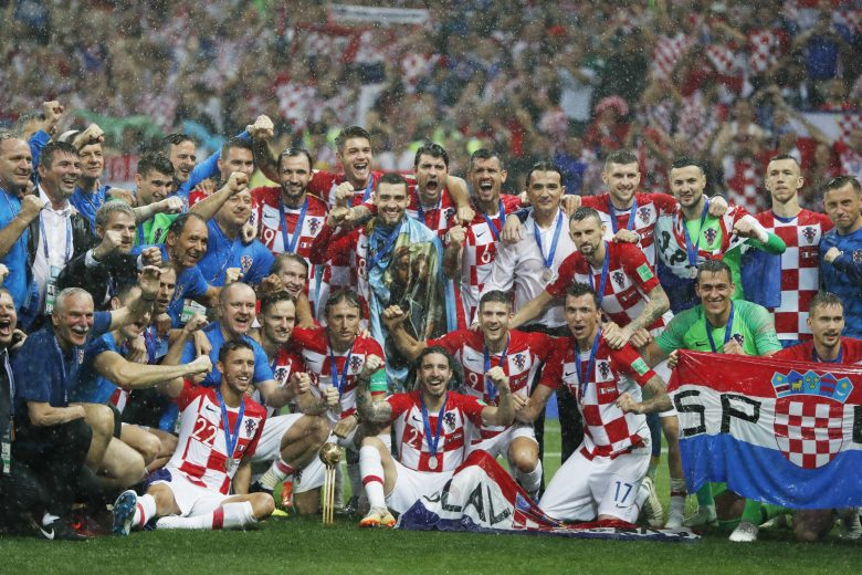 Croatian players celebrate their second place after the final match between France and Croatia at the 2018 soccer World Cup in the Luzhniki Stadium in Moscow