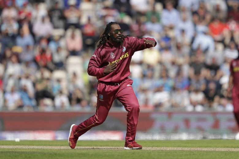 West Indies' Chris Gayle makes an unsuccessful wicket appeal