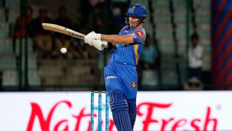 Rajasthan Royals' D'Arcy Short plays a shot during VIVO IPL cricket T20 match against Delhi Daredevils