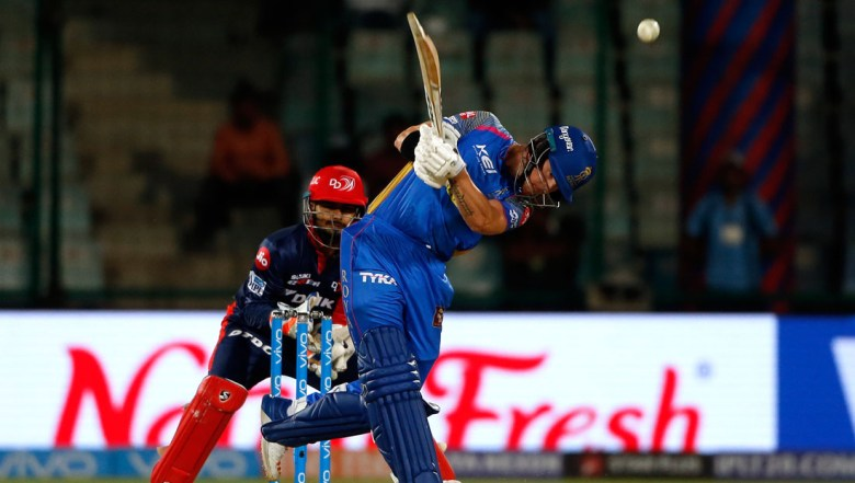 Rajasthan Royals' D'Arcy Short hits a six during VIVO IPL cricket T20 match against Delhi Daredevils
