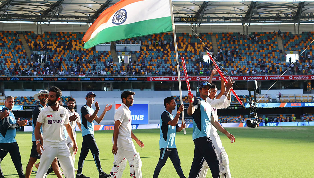 Team India celebrating their victory at the Gabba (Image: AP)