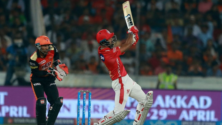 Kings XI Punjab player K L Rahul bats