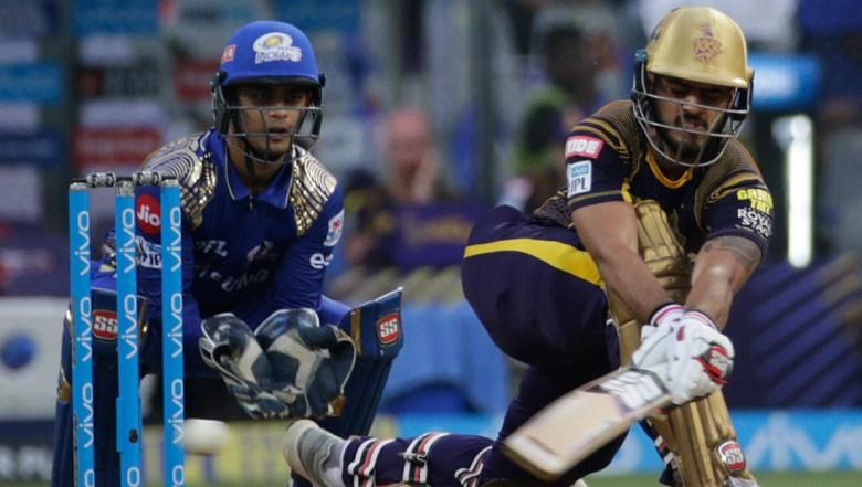 Kolkata Knight Riders' Nitish Rana bats during the VIVO IPL cricket T20 match against Mumbai Indian