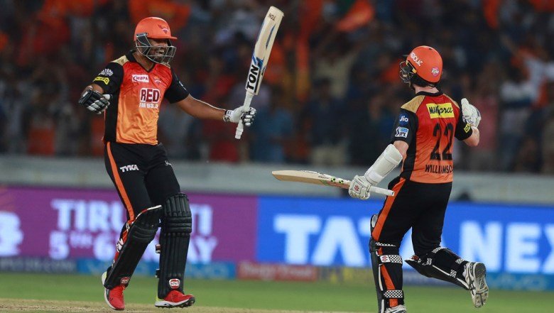 Sunrisers Hyderabad player Yusuf Pathan, left, and Kane Williamson celebrates after winning the match