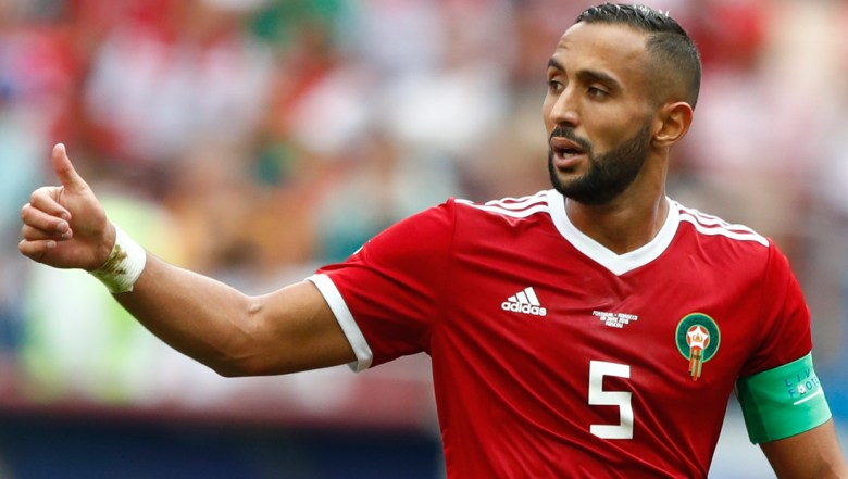 Morocco's Mehdi Benatia gestures during the group B match between Portugal and Morocco at the 2018 soccer World Cup in the Luzhniki Stadium in Moscow