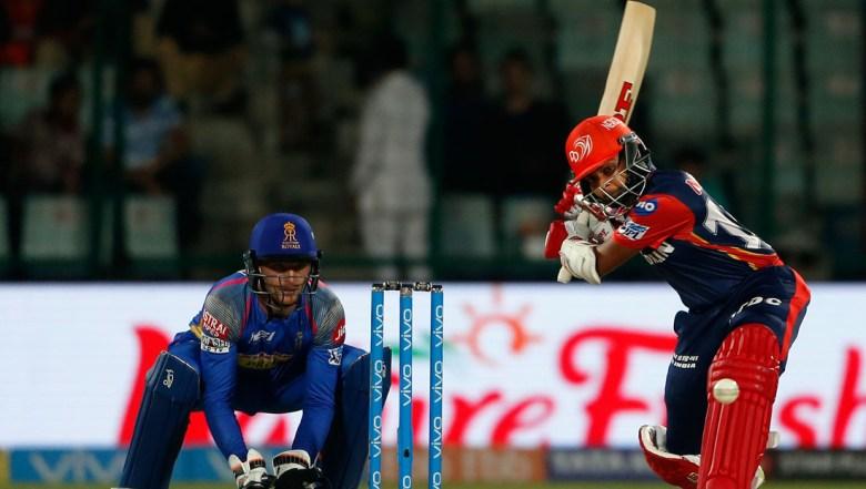 Delhi Daredevils' Prithvi Shaw prepares to hit a six during VIVO IPL cricket T20 match against Rajasthan Royals
