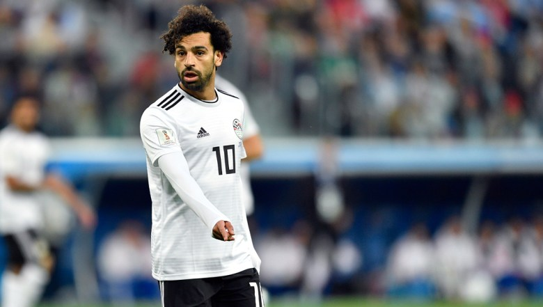 Egypt's Mohamed Salah points during the group A match between Russia and Egypt at the 2018 soccer World Cup in the St. Petersburg stadium in St. Petersburg