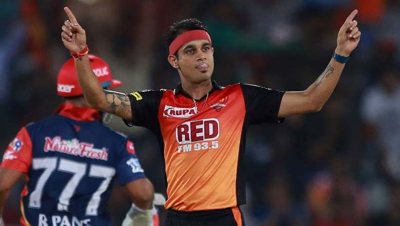 Sunrisers Hyderabad bowler Siddharth Kaul celebrates the wicket of Delhi Daredevils' Shreyas Iyer