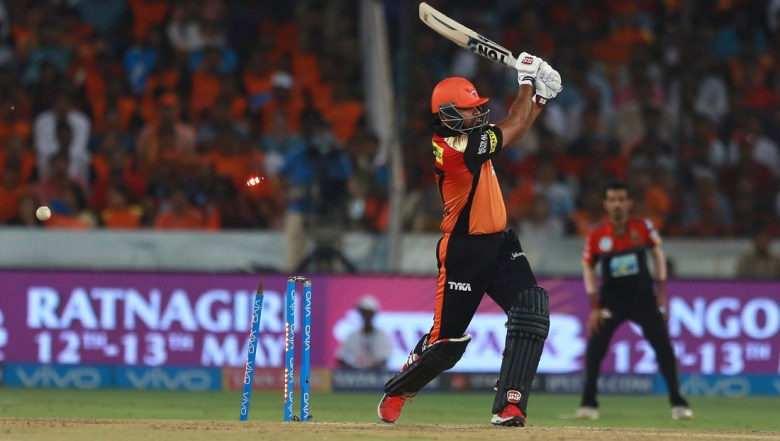 Sunrisers Hyderabad player Yusuf Pathan bowled by Royal Challenger's bowler Mohammed Siraj