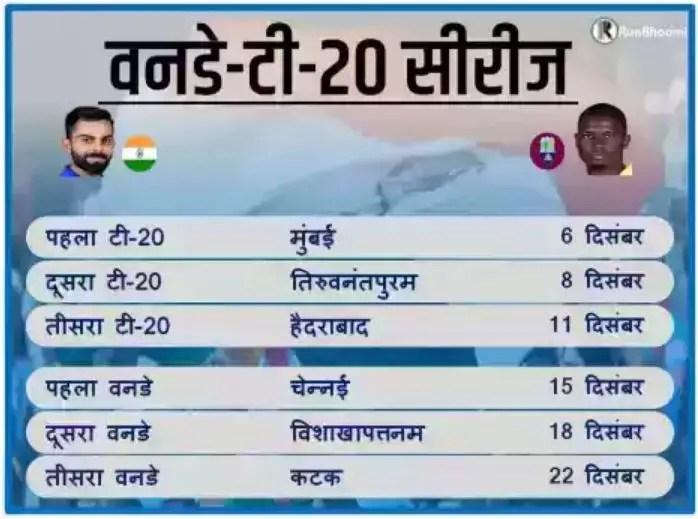 भारत vs वेस्टइंडीज: मैच कार्यक्रम