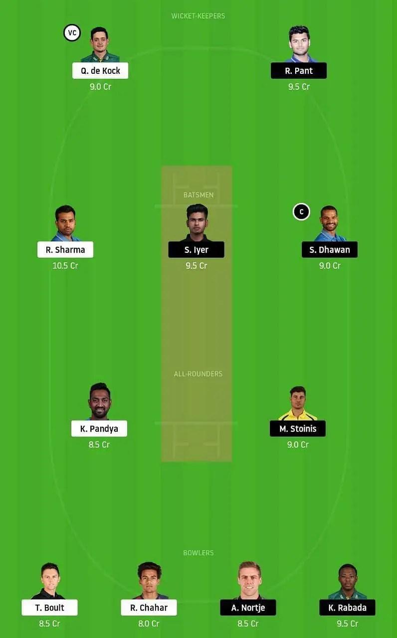 मुंबई इंडियंस vs दिल्ली कैपिटल्स संभावित ड्रीम 11 टीम