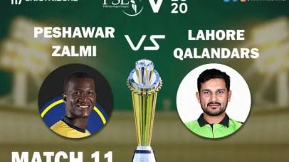 PES vs LAH Live Score 11th Match between Peshawar Zalmi vs Lahore Qalandars Live on 28 February 2020 Live Score & Live Streaming