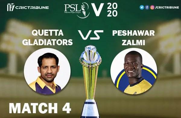 QUE vs PES Live Score 4th Match between Quetta Gladiators vs Peshawar Zalmi Live on 22 February 2020 Live Score & Live Streaming