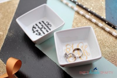 Create vinyl Monogrammed stickers to create ring and jewelry dishes to sell at craft events and fairs.