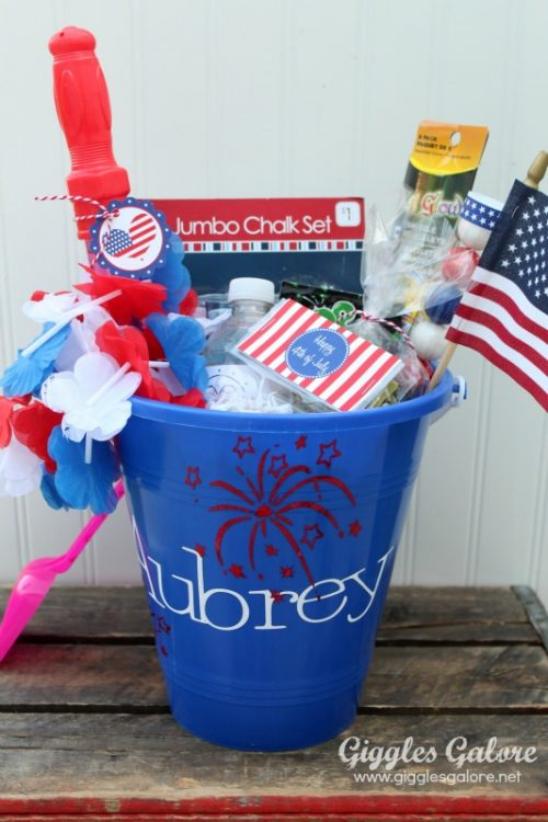 Make personalized celebration buckets for the kiddos. Make the vinyl lettering with your Cricut.