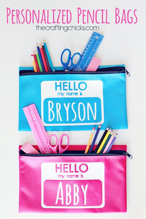 Personalize a set of pencil bags for the kiddos using your Cricut.
