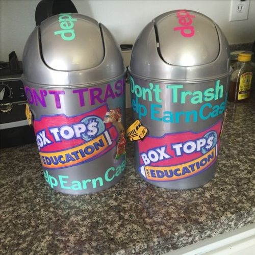 Create a box top collection bin to give to teachers at school