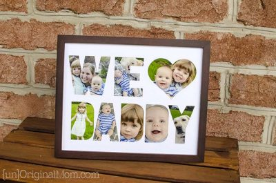 Make the cutouts with your Cricut and add the pictures. Love this idea for Father's day!