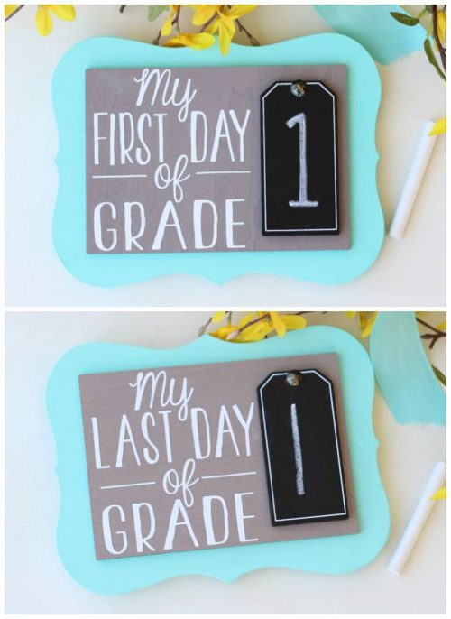 Photo prop for the kids on their first and last day of school. The vinyl was cut with Cricut.