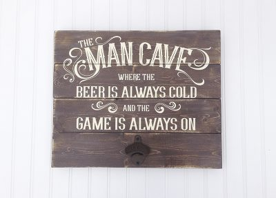 Make a man cave sign for Father's Day with a Bottle opener. Love this idea!