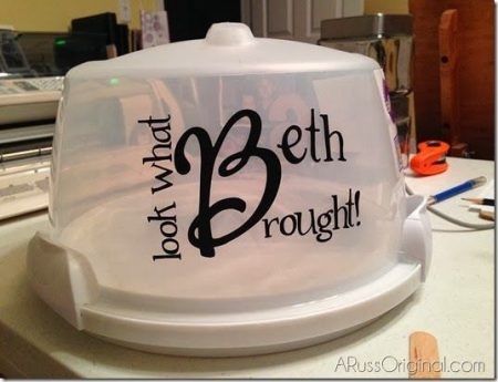 A personalized cake carrier displaying your name is a great item to have during summer barbecues!